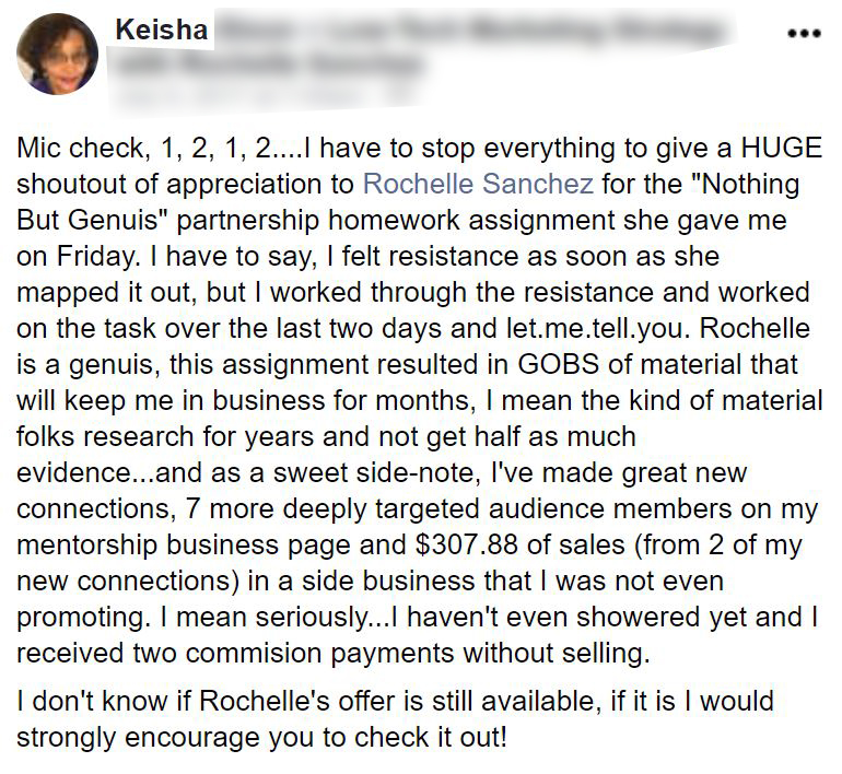 Screenshot of testimonial by Keisha about Business Coach Rochelle Sanchez