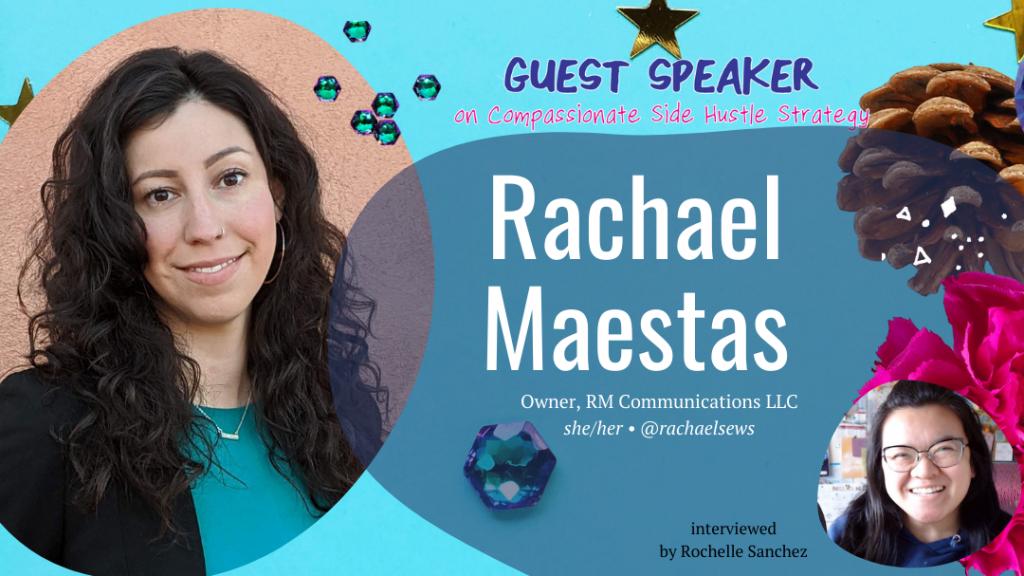 Headshots of Rachael Maestas, Guest Speaker on Compassionate Side Hustle Strategy.