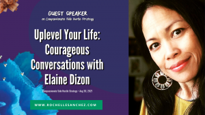 White text on purple background with a photo of Elaine smiling softly that reads: Guest Speaker on Compassionate Side Hustle Strategy Uplevel Your Life Courageous Conversations with Elaine Dizon